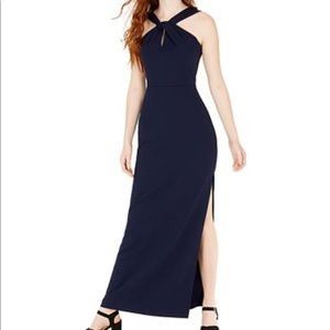 Navy Blue Halter Neck Formal Gown by Bebe
